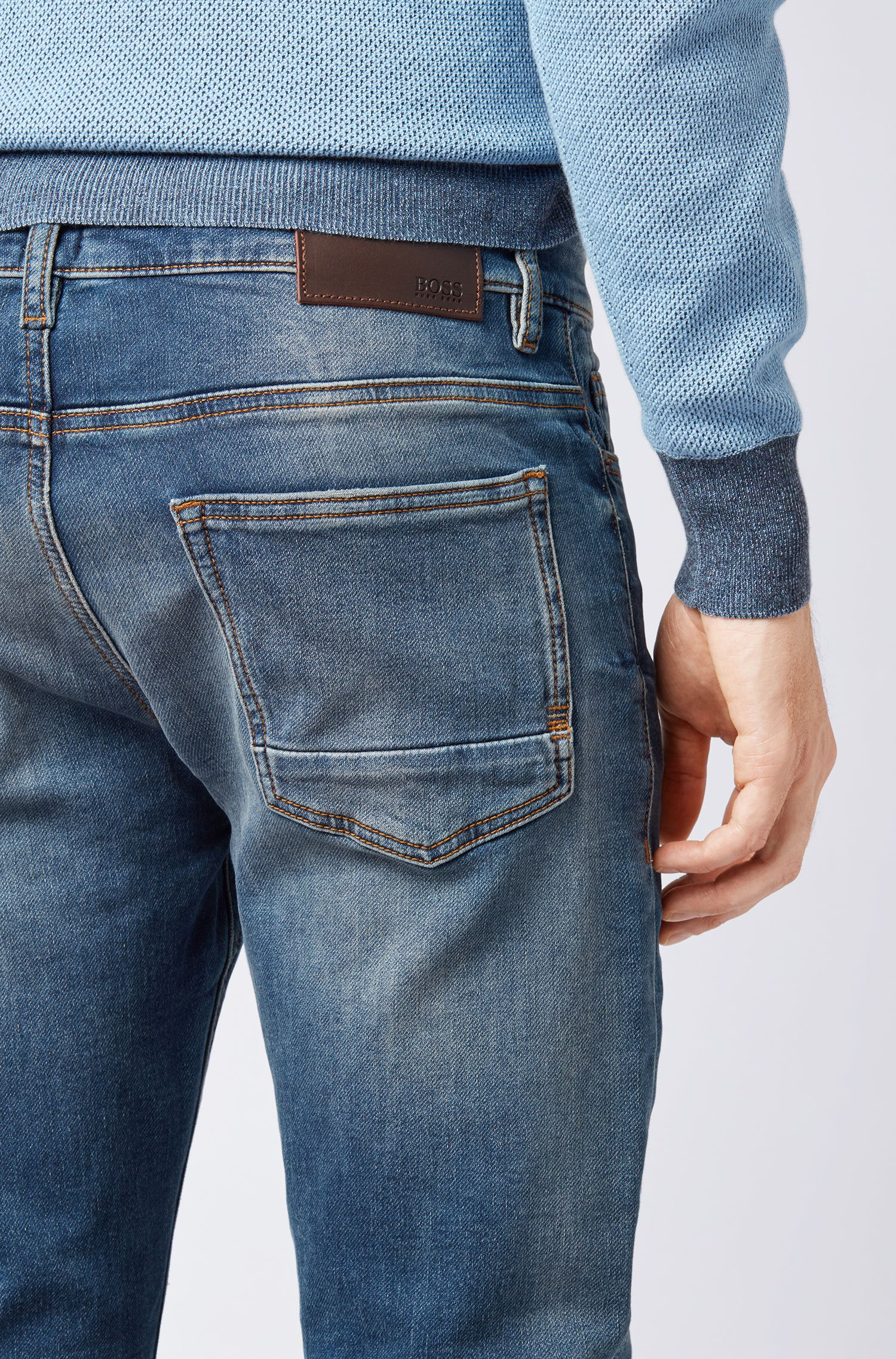 Slim-fit jeans in mid-blue knitted stretch denim, Blue