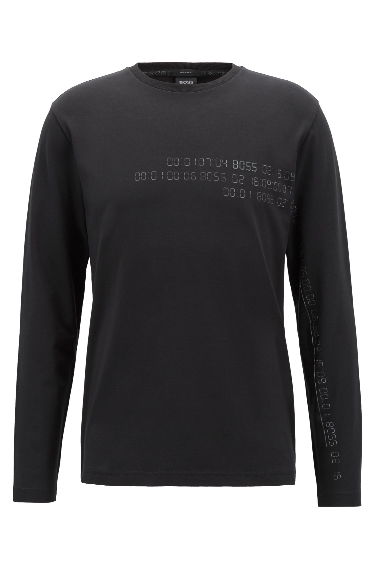 Long-sleeved T-shirt in stretch cotton with reflective print, Black