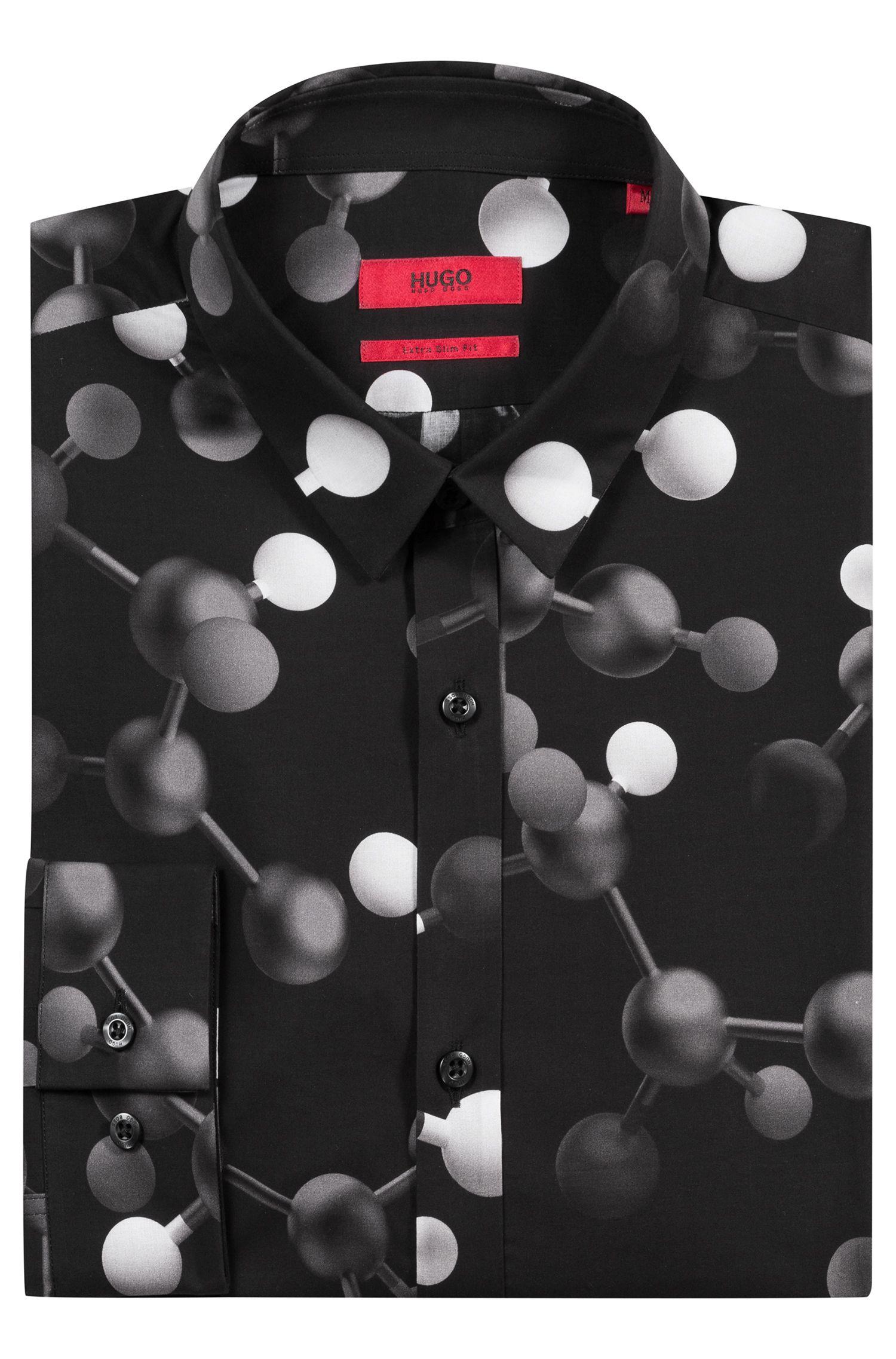 Extra-slim-fit cotton shirt with atom print, Black