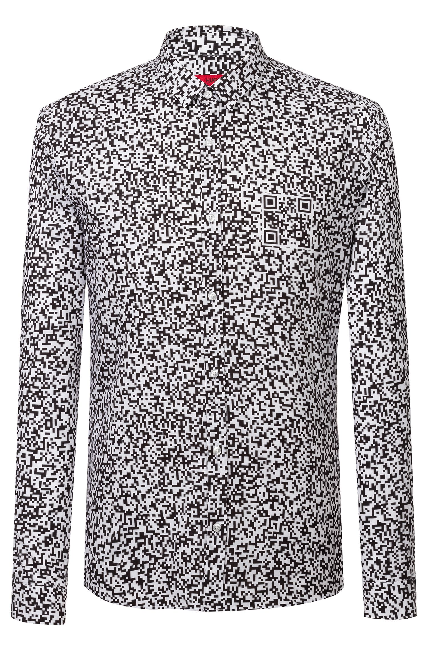 Extra-slim-fit cotton shirt with QR-code print, Black
