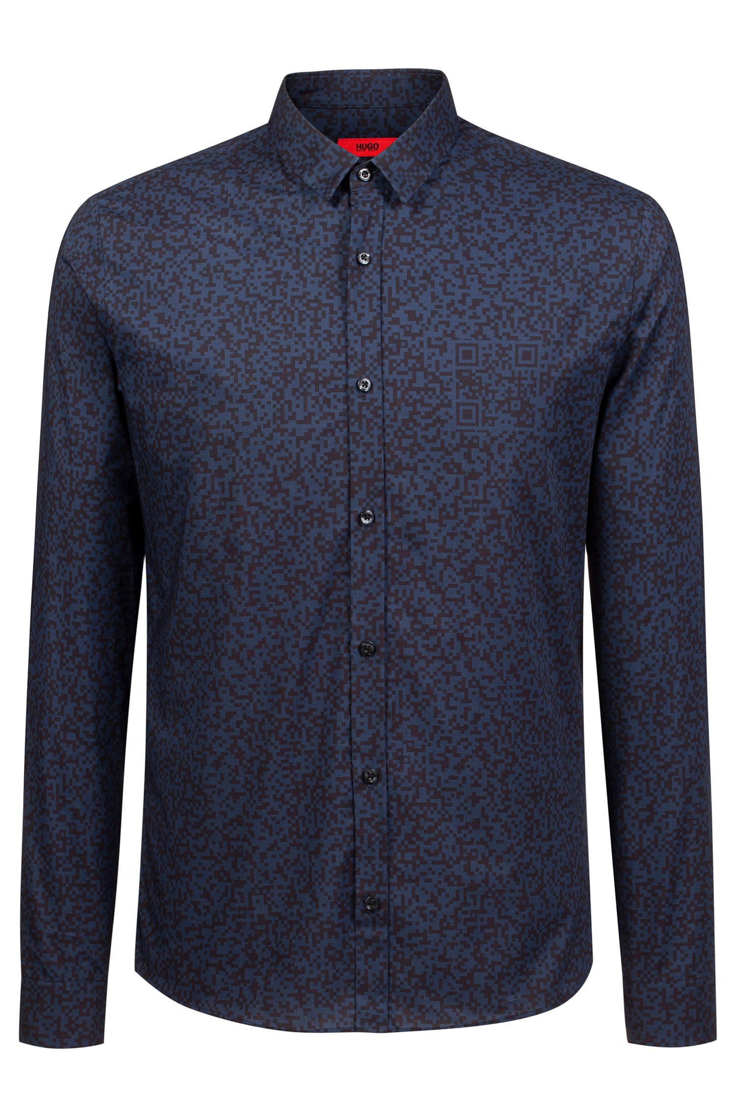 Extra-slim-fit cotton shirt with QR-code print, Dark Blue