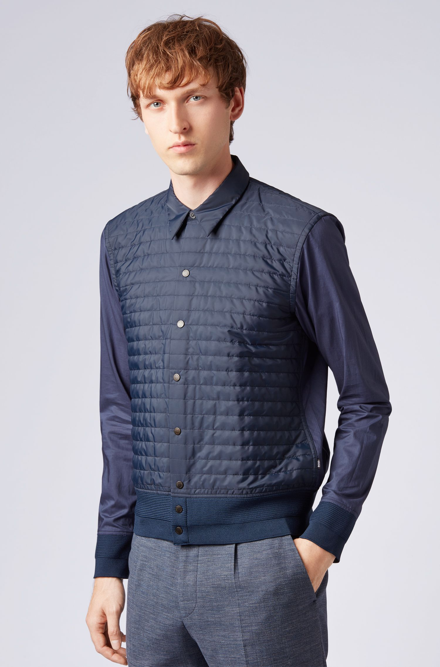 Regular-fit shirt in cotton with quilted body panel, Open Blue