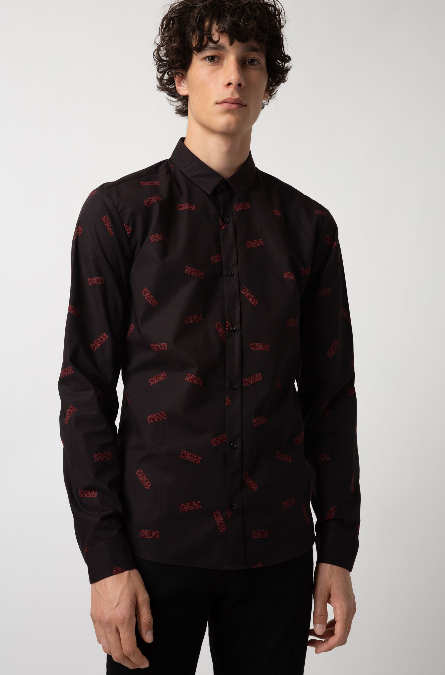 Extra-slim-fit cotton shirt with reverse-logo print, Black