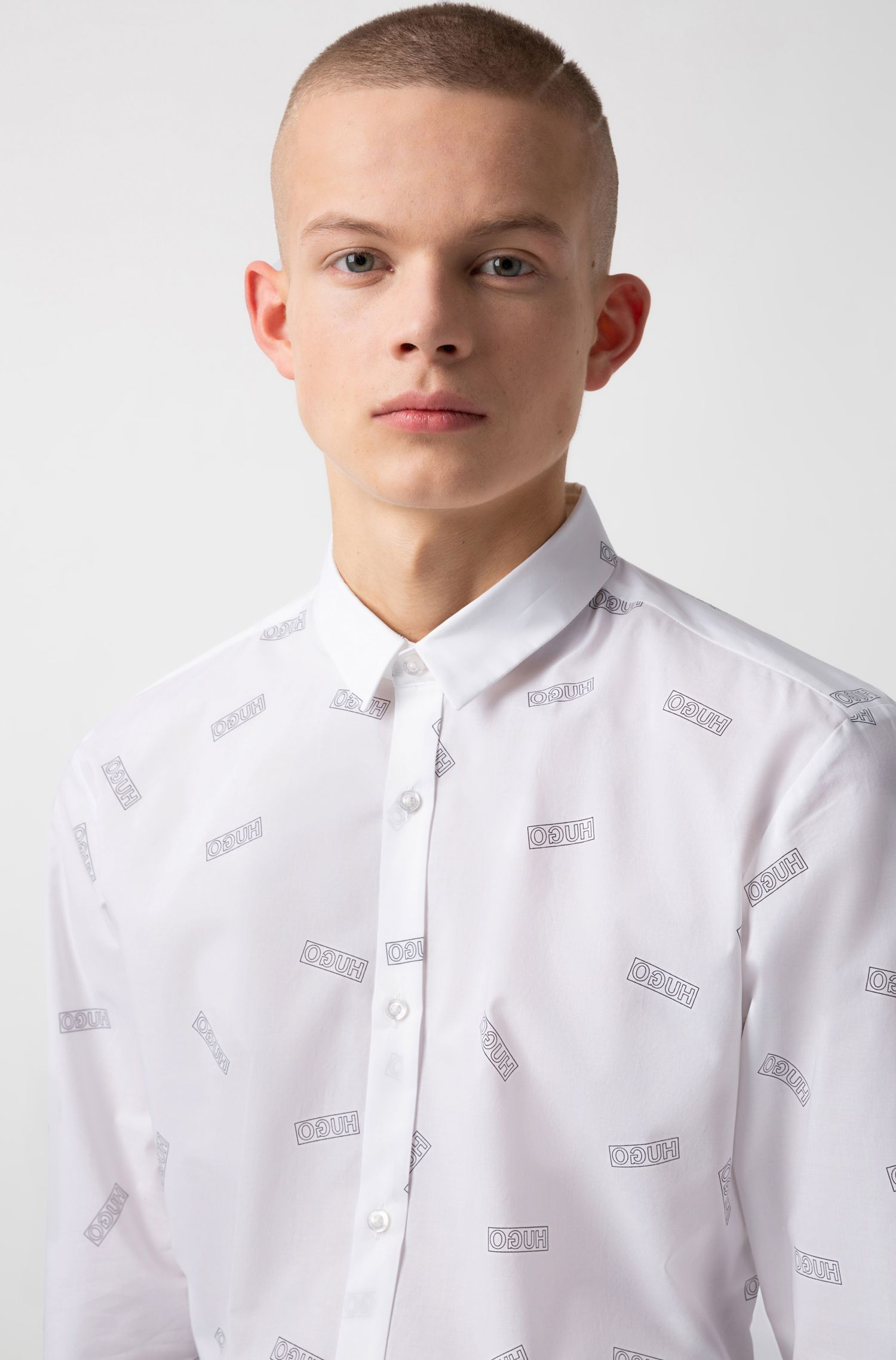 Extra-slim-fit cotton shirt with reverse-logo print, Open White