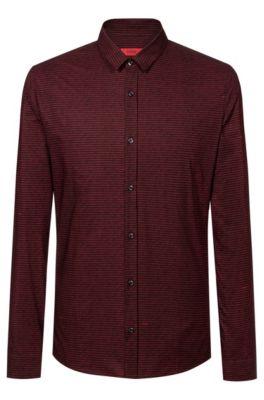 Extra-slim-fit shirt in binary-print cotton, Black