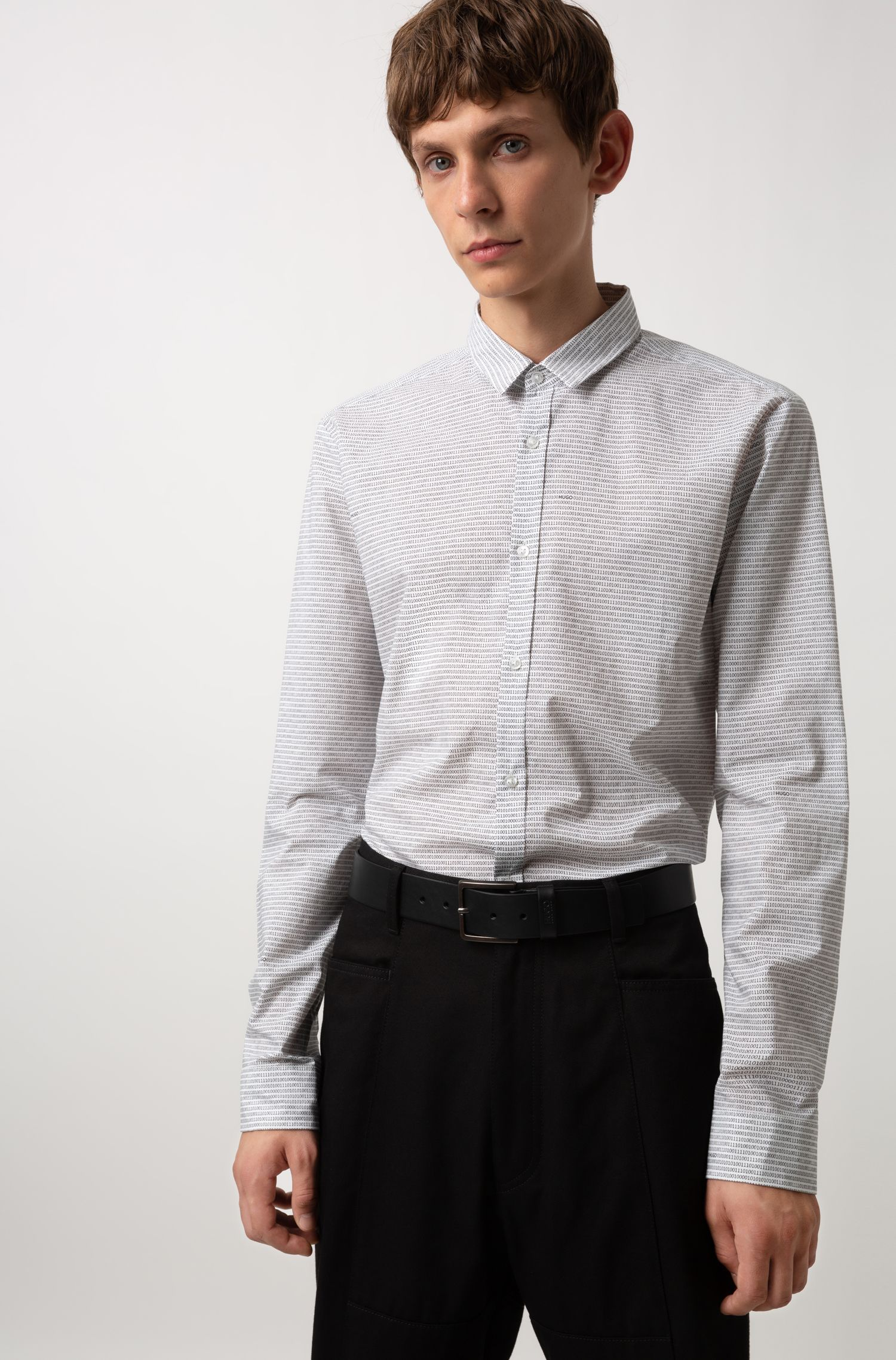 Extra-slim-fit shirt in binary-print cotton, Open White