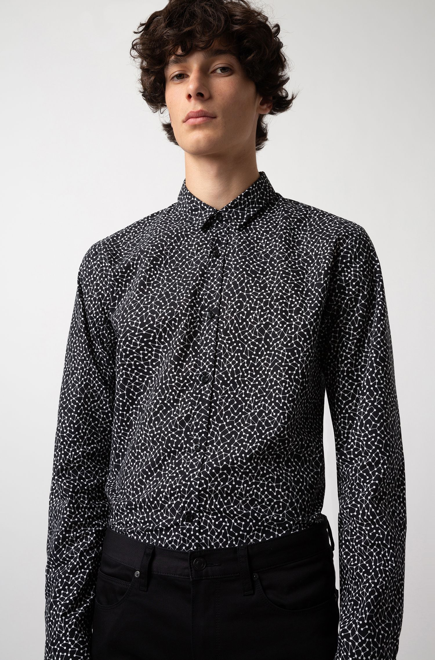 Extra-slim-fit shirt in atom-print cotton, Black