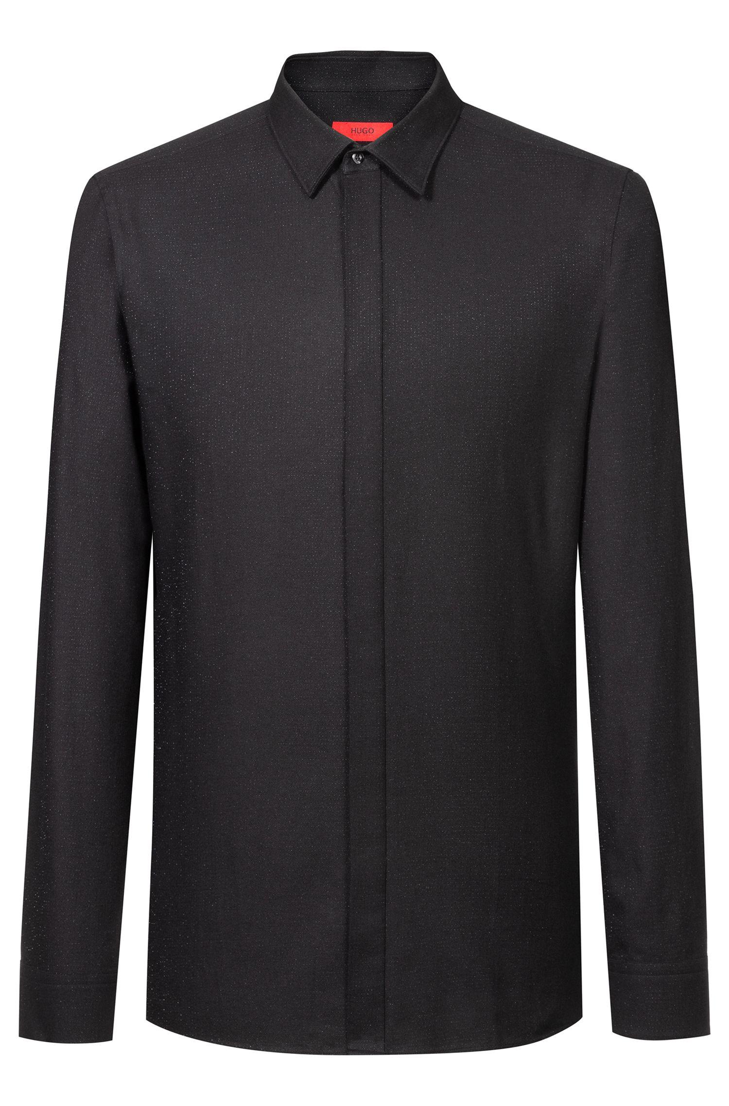 Extra-slim-fit shirt in cotton-blend metallic yarn, Black