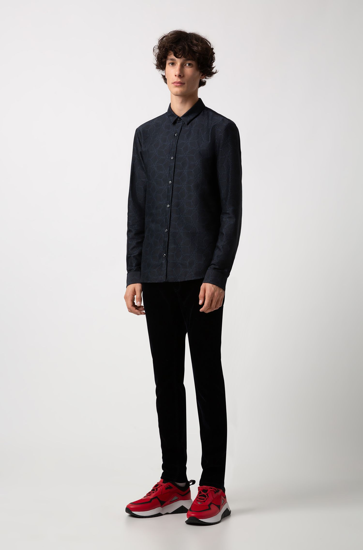 Extra-slim-fit shirt in geometric-patterned cotton jacquard, Dark Blue