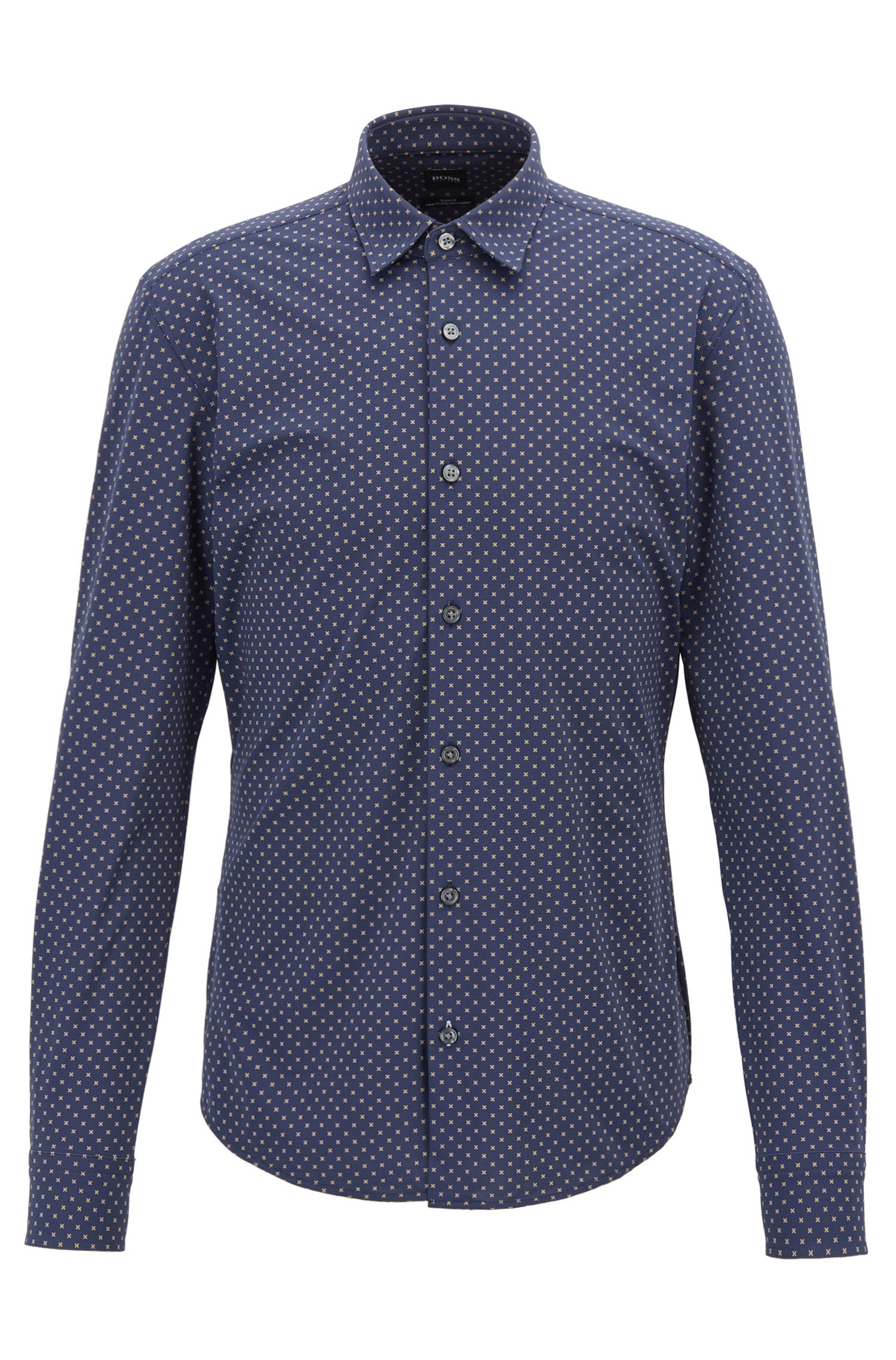 Slim-fit shirt in geometric-print Italian jersey, Open Blue