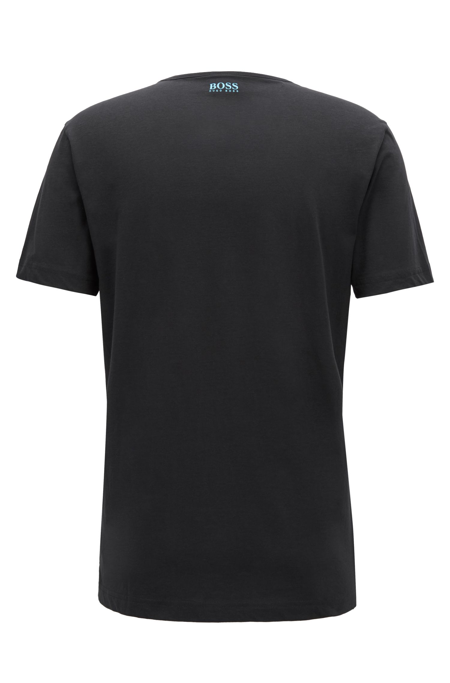 Regular-fit T-shirt in cotton jersey with logo artwork, Black