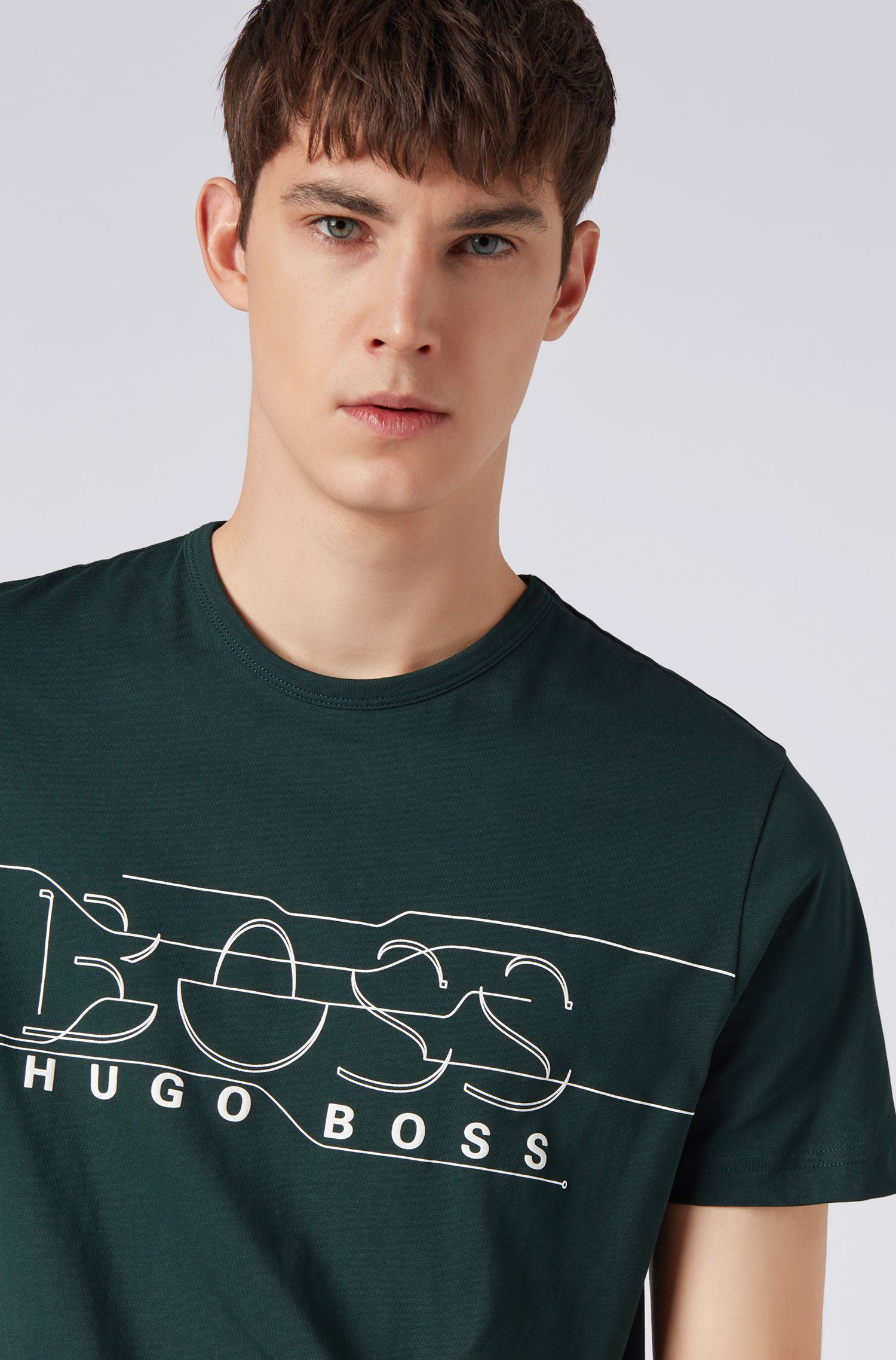 Crew-neck T-shirt with logo artwork, Open Green