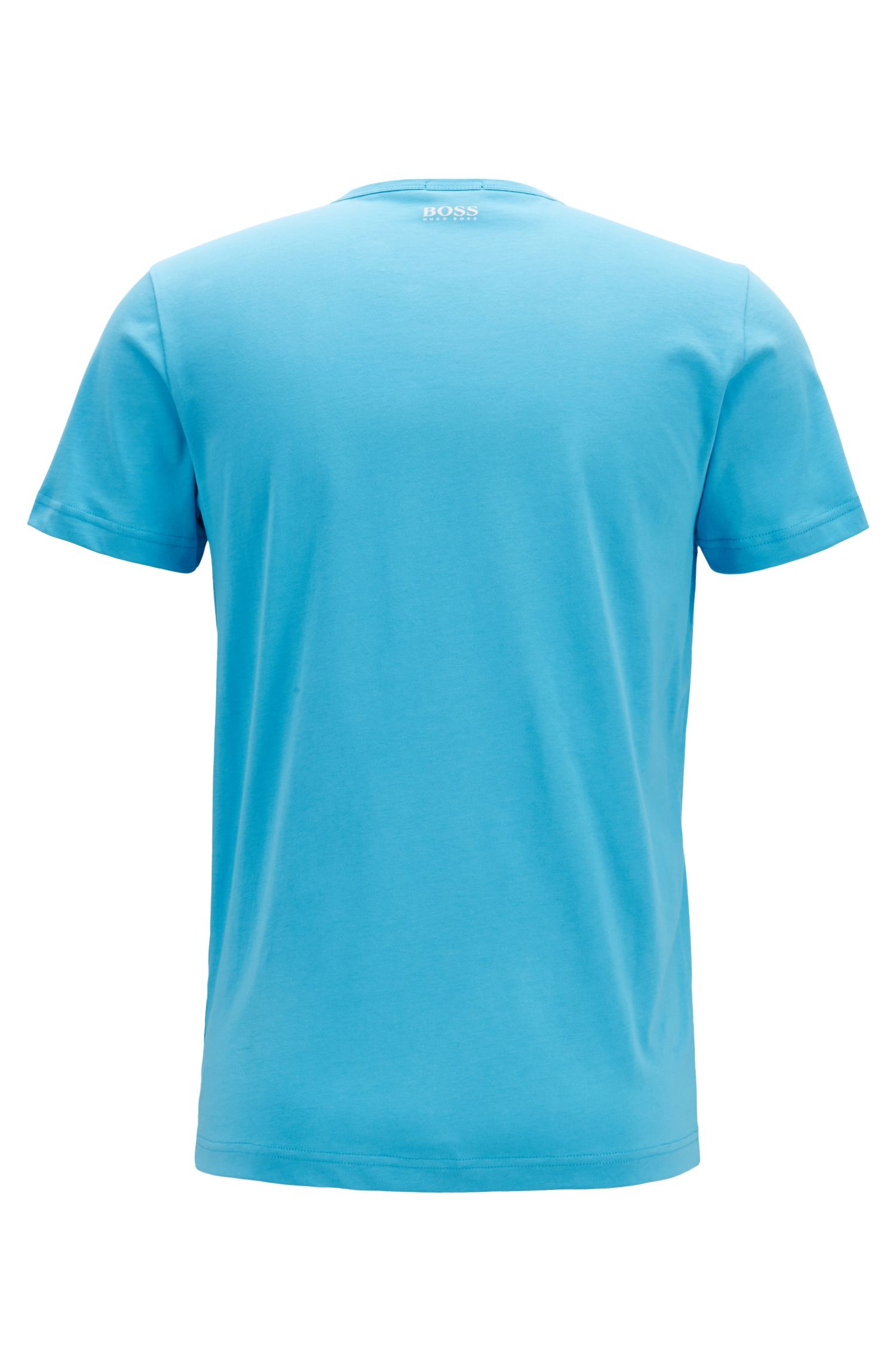 Crew-neck T-shirt with logo artwork, Turquoise