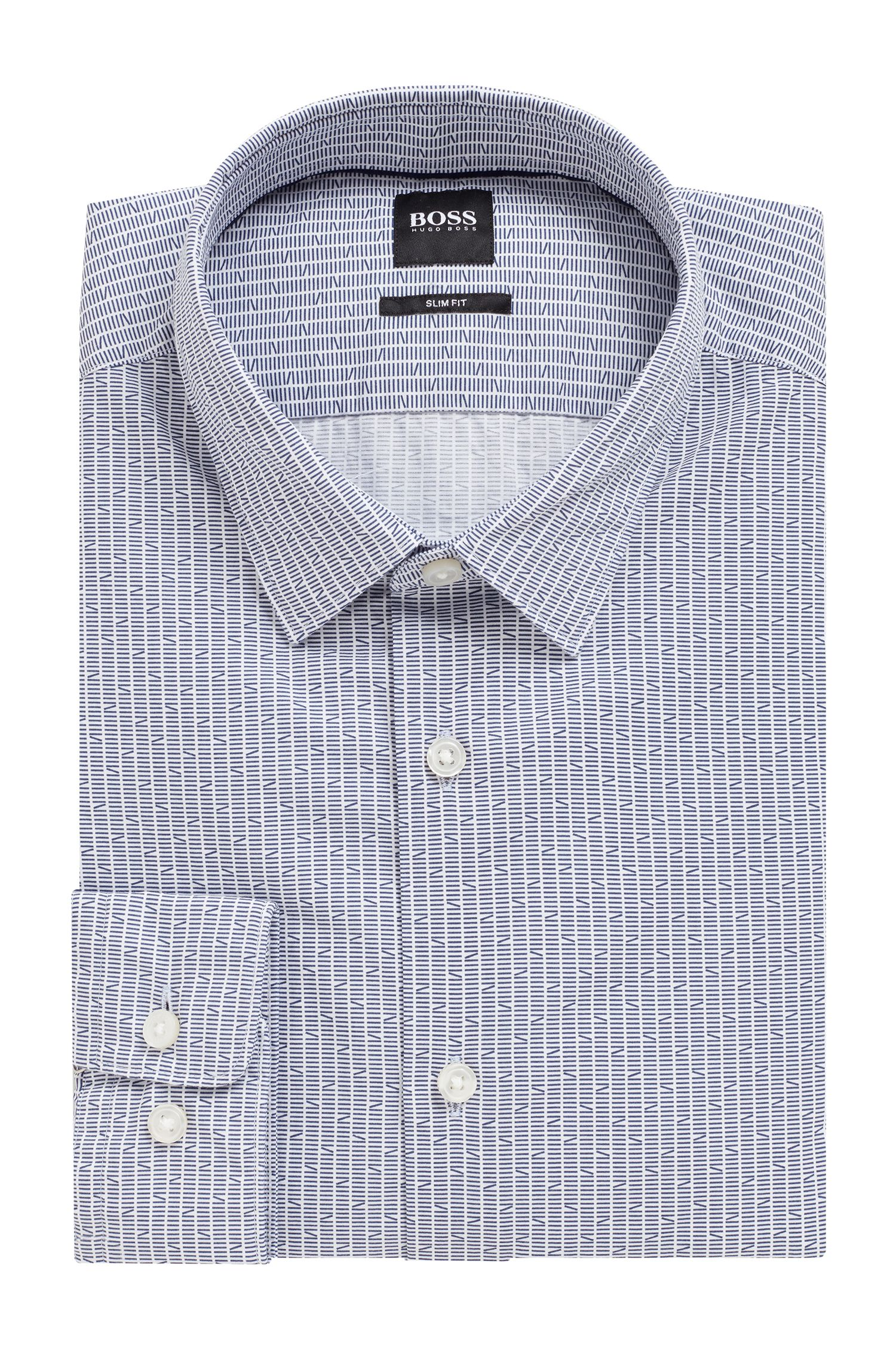 Slim-fit shirt in Italian cotton with exclusive print, Open Blue