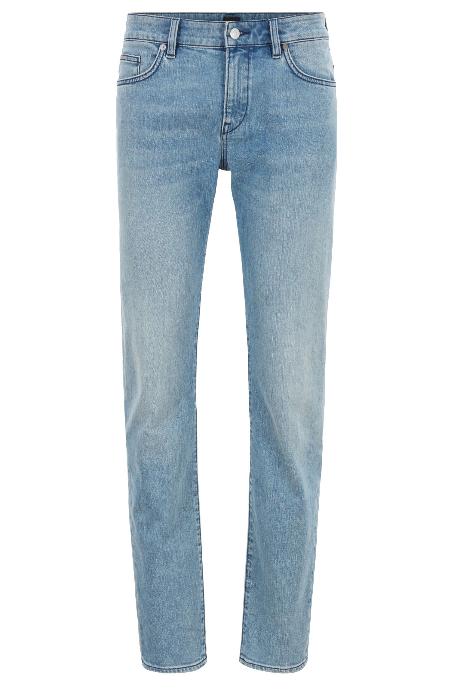 Slim-fit jeans in mid-washed stretch denim, Turquoise