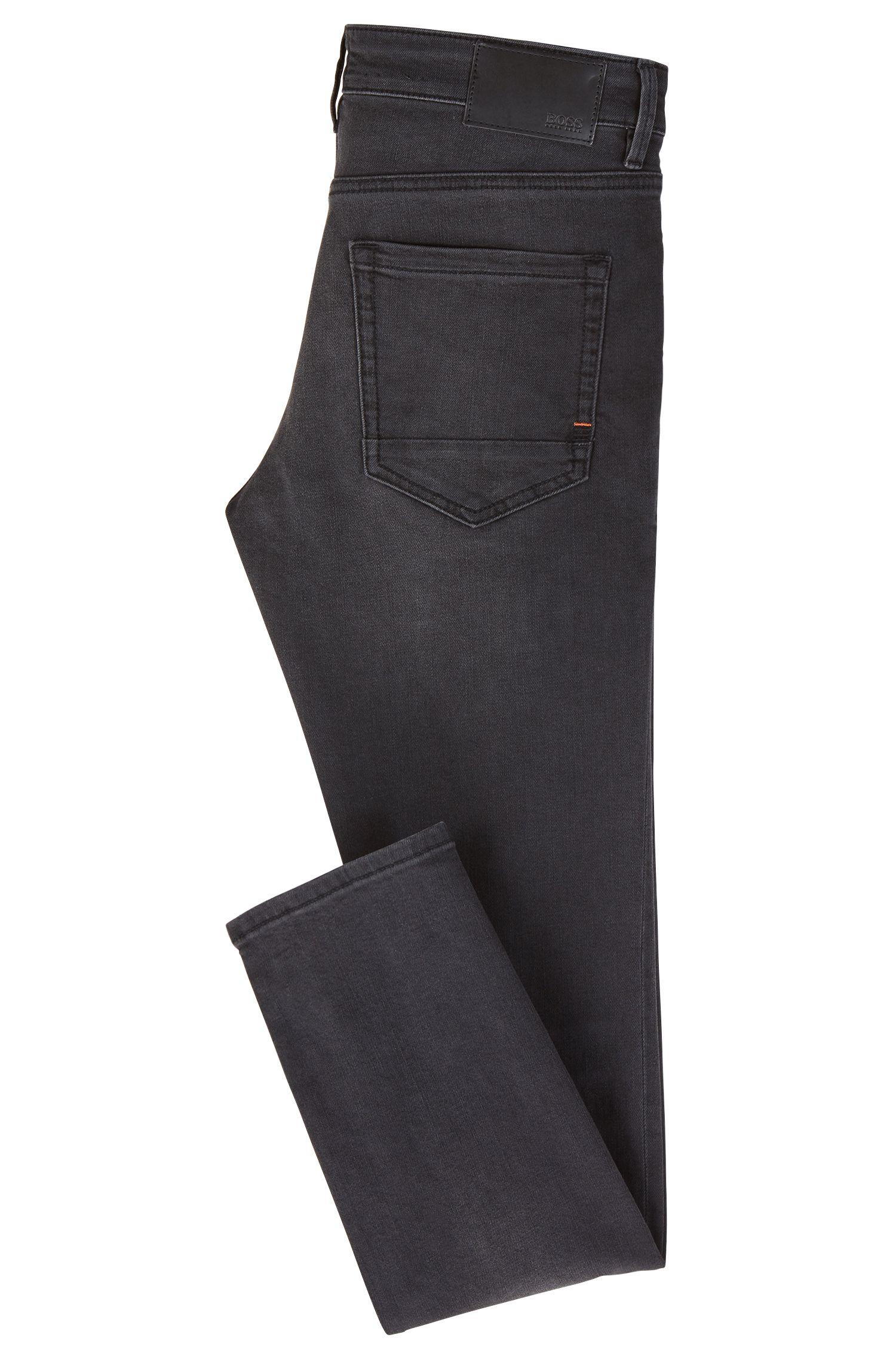 Skinny-fit jeans in super-stretch washed denim, Black