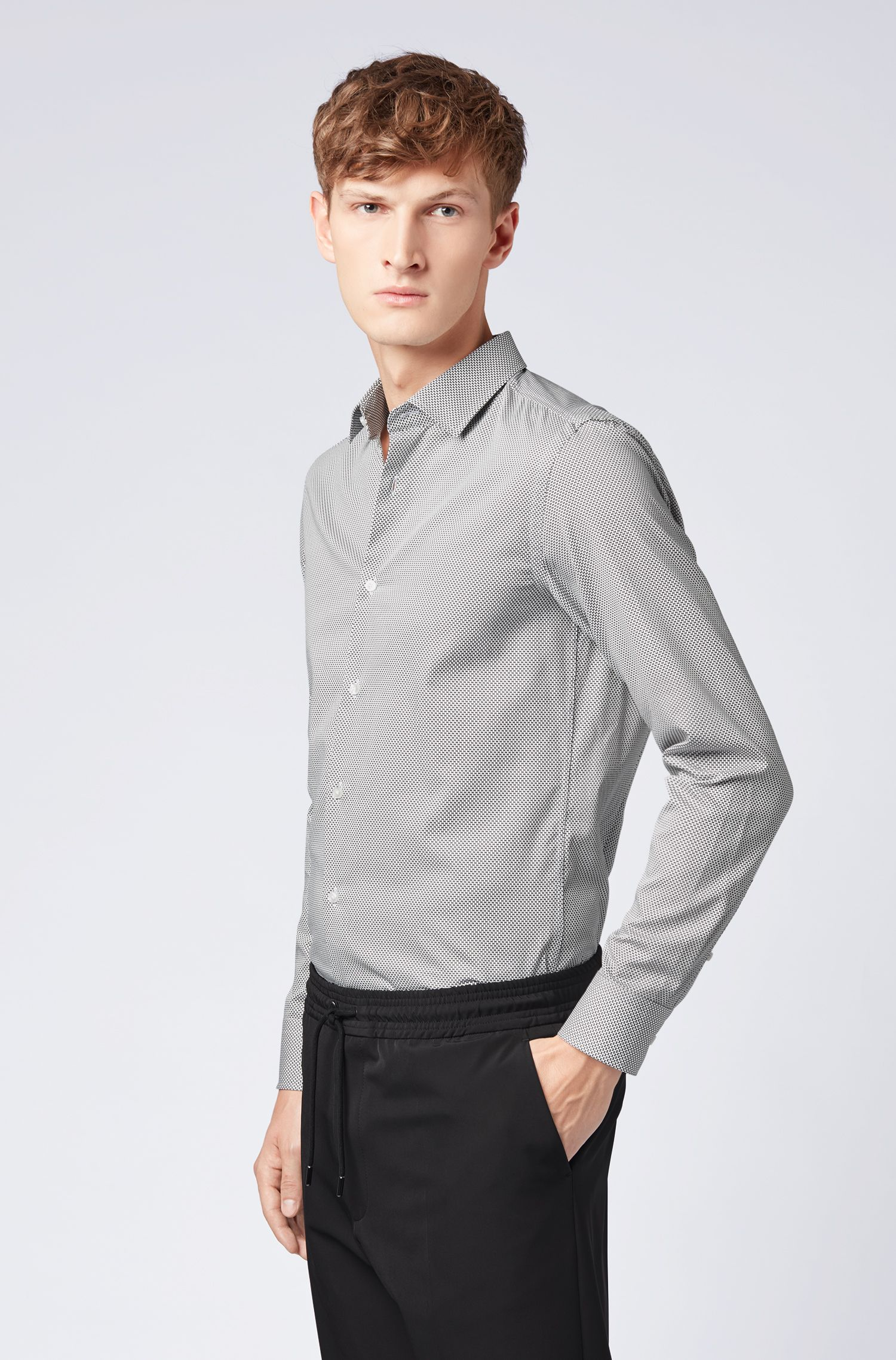 Slim-fit shirt in satin with mini bow-tie print, White