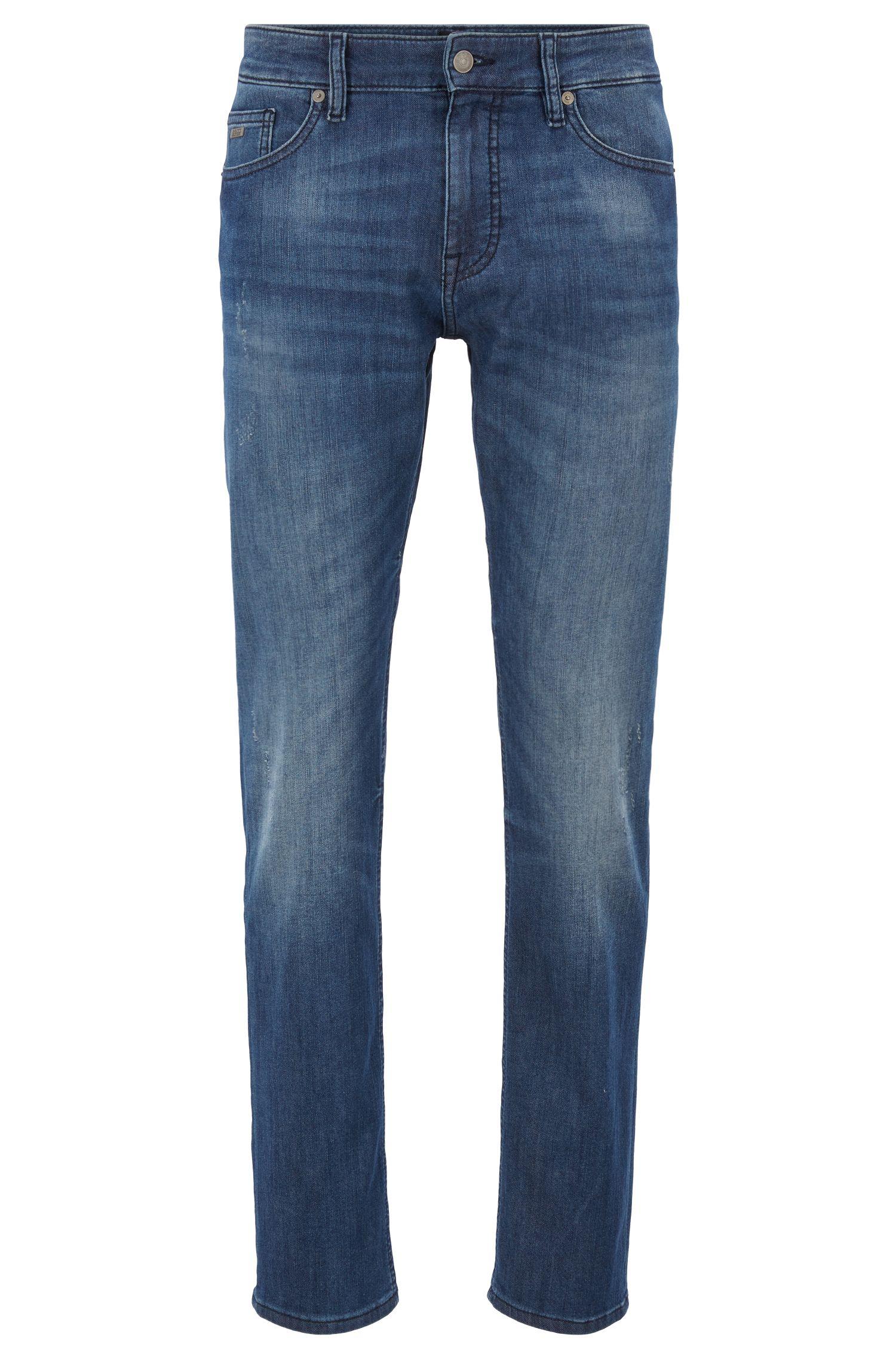 Slim-fit jeans in knitted stretch denim, Blue