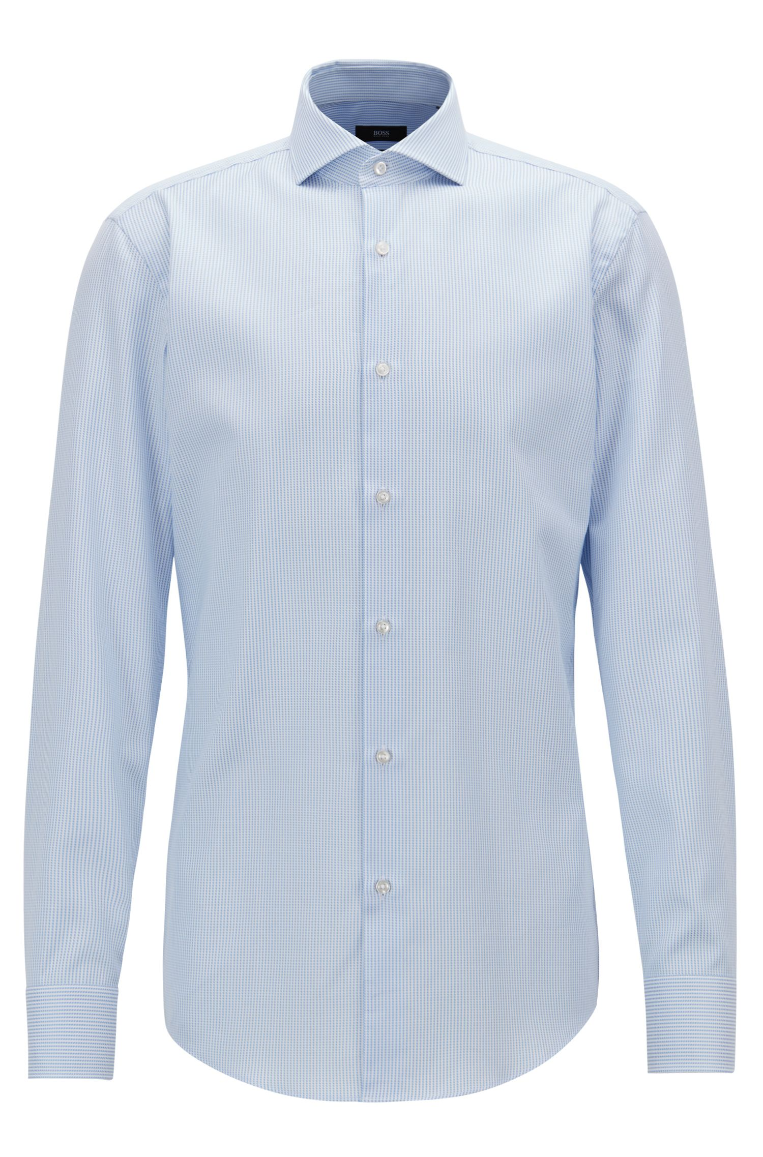 Slim-fit shirt in striped cotton twill, Light Blue