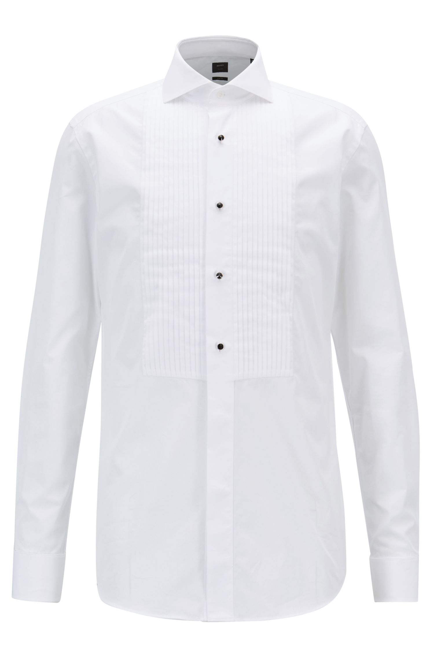 Slim-fit evening shirt with pleated bib and glass buttons, White