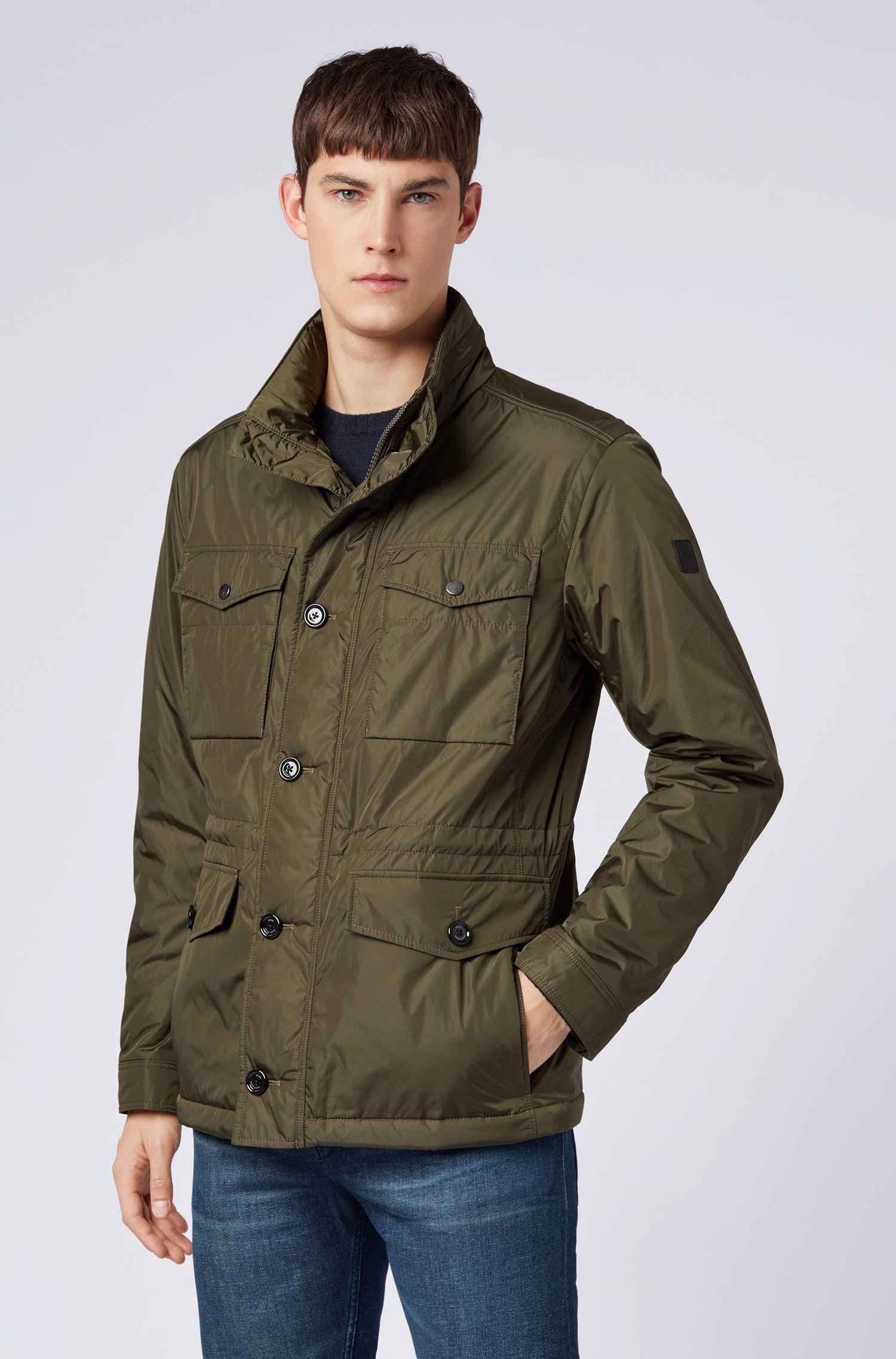 Water-repellent field jacket in lustrous technical fabric, Dark Green