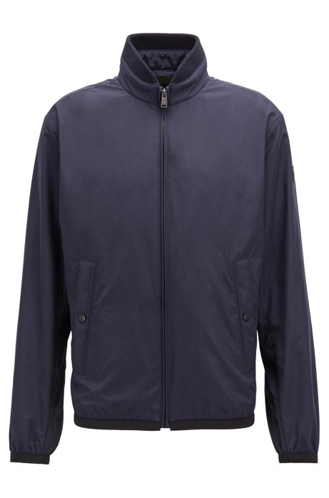 Water-repellent blouson jacket in peach-touch technical fabric, Dark Blue