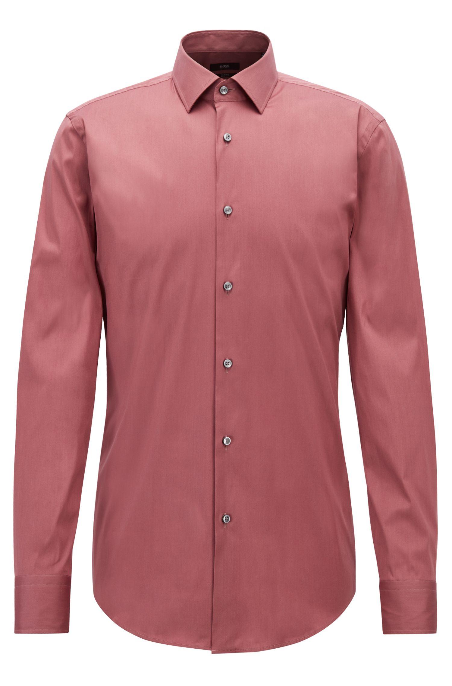 Slim-fit shirt in stretch cotton-blend poplin, Open Purple