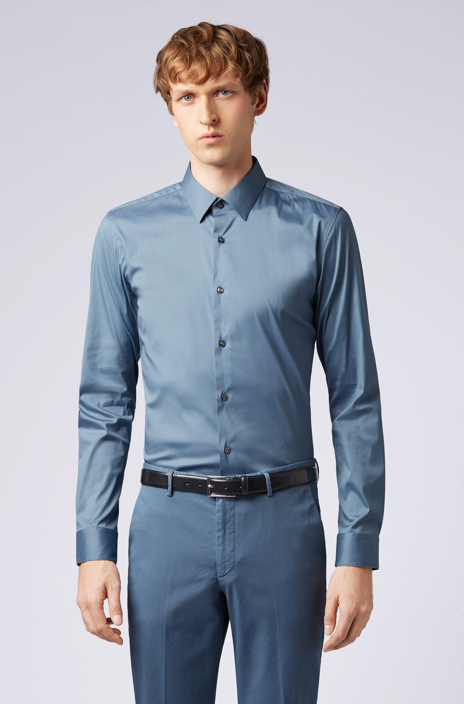 Extra-slim-fit shirt in stretch poplin, Open Blue