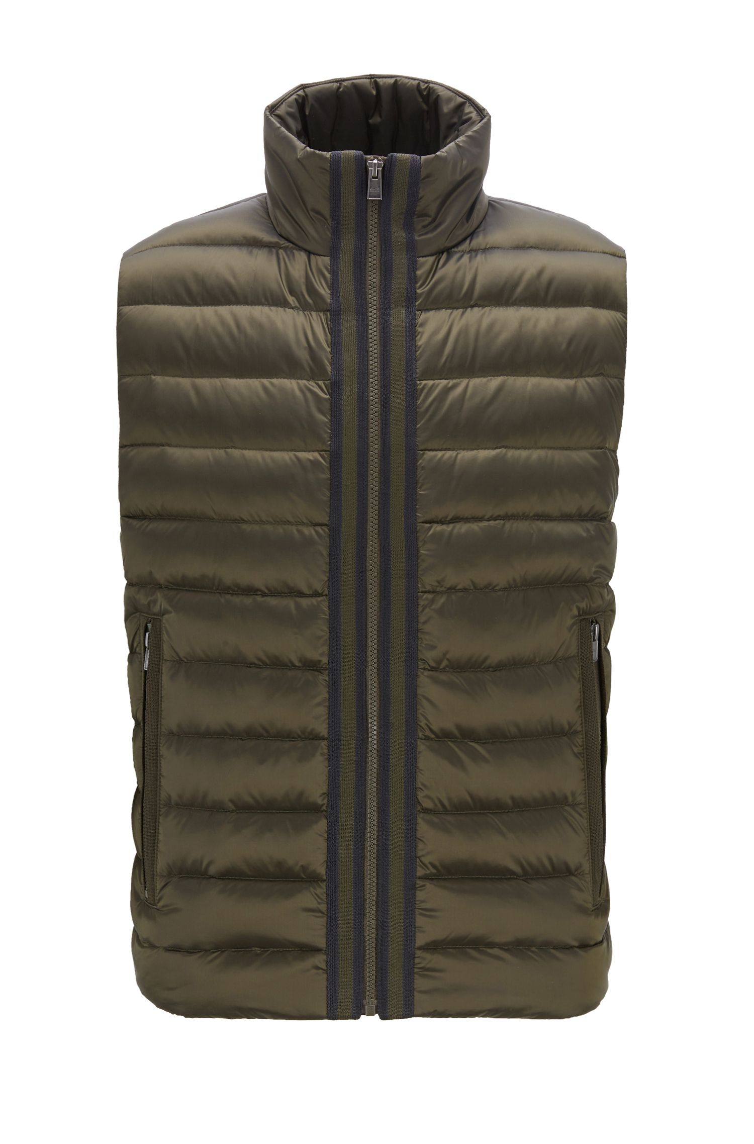 Down-filled gilet with water-repellent outer, Open Green