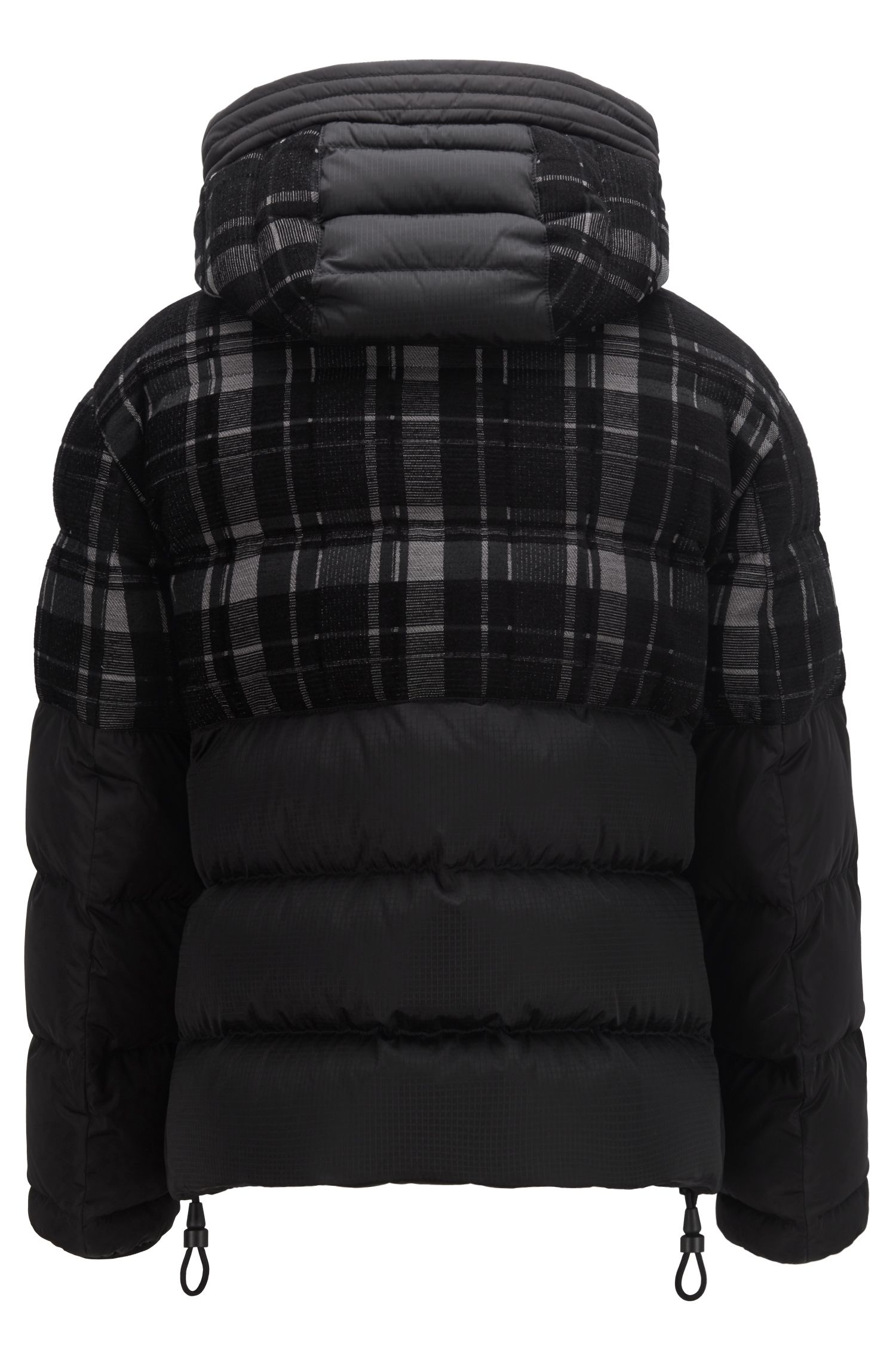 Hooded down puffa jacket with woven checked panel, Black