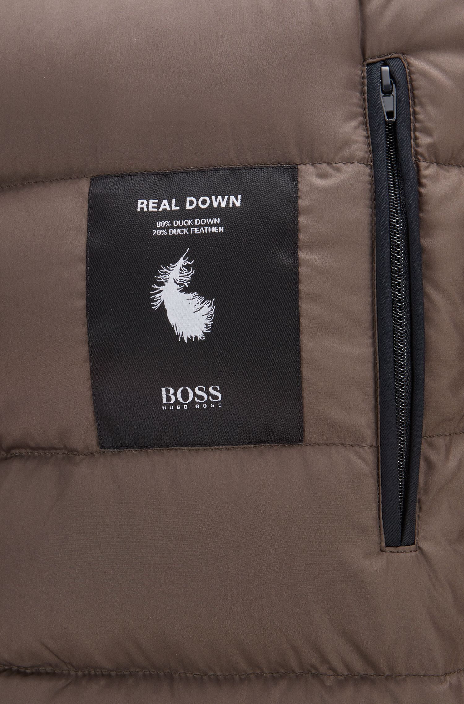Down-filled parka in technical twill fabric with quilted lining, Open Blue