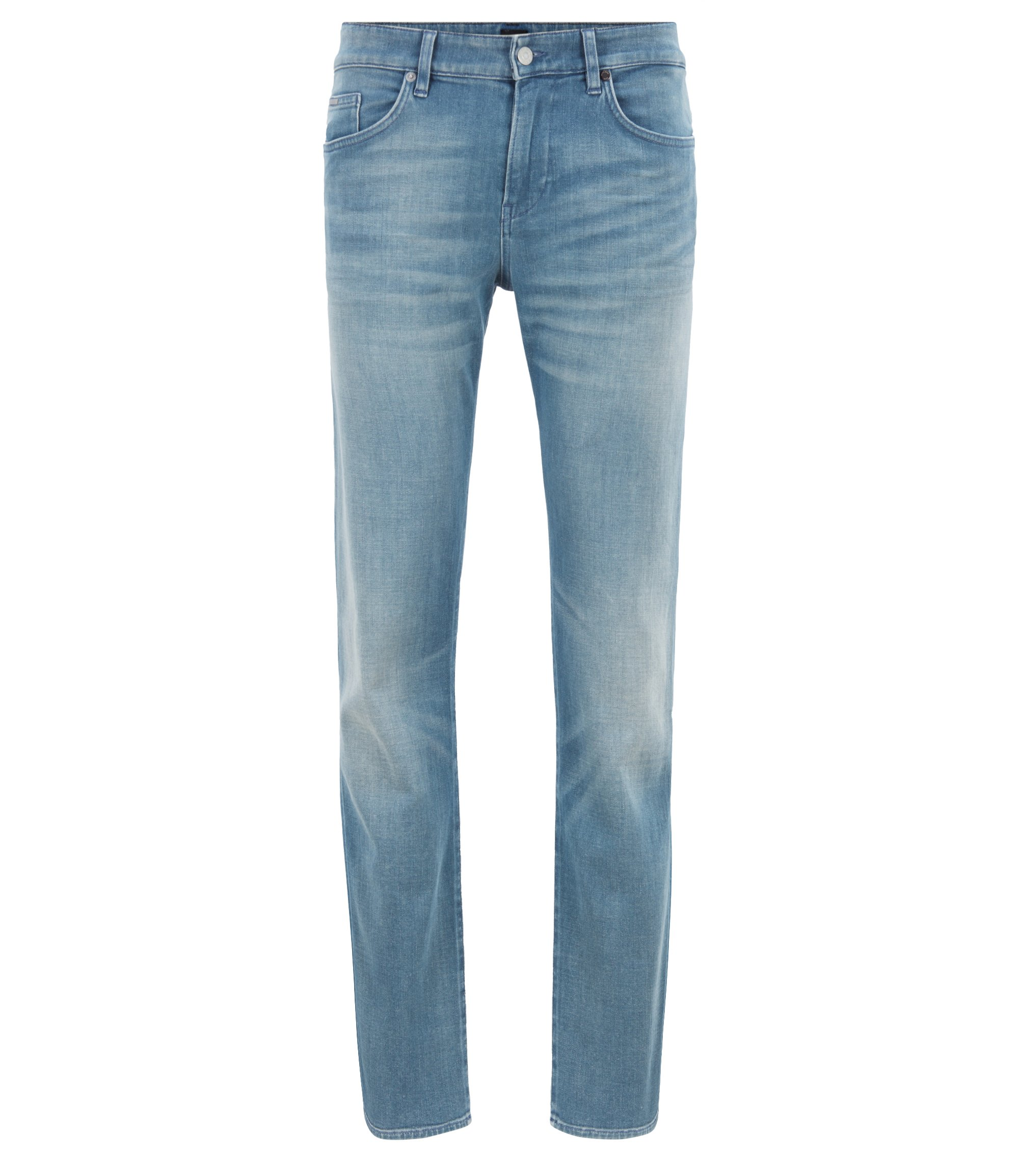Slim-fit jeans in dark-blue comfort stretch denim, Turquoise