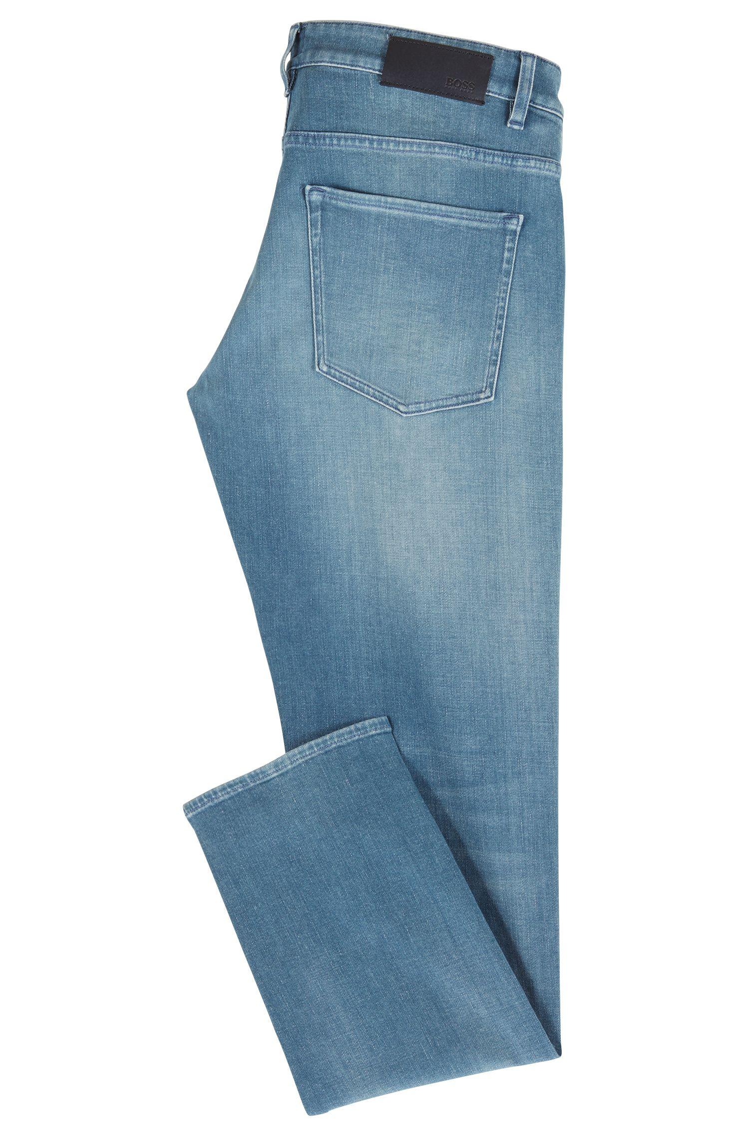 Slim-fit jeans in dark-blue comfort stretch denim, Turquoise