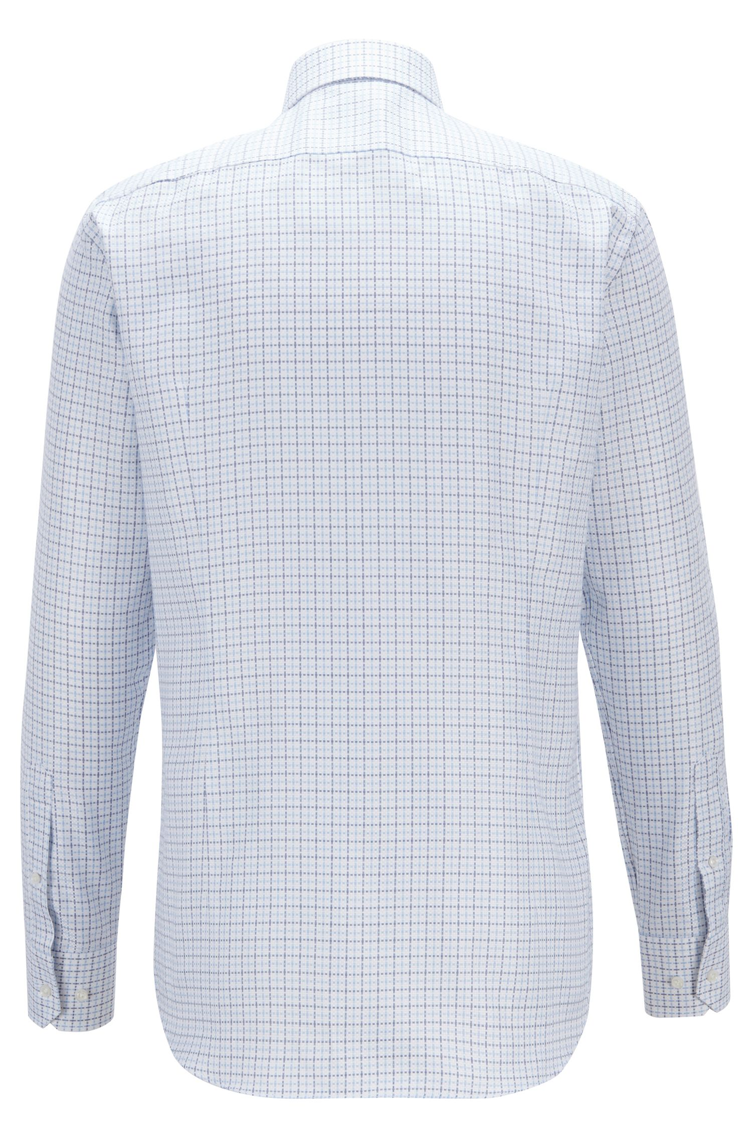 Tailored slim-fit shirt in Italian Glen-check cotton, Blue