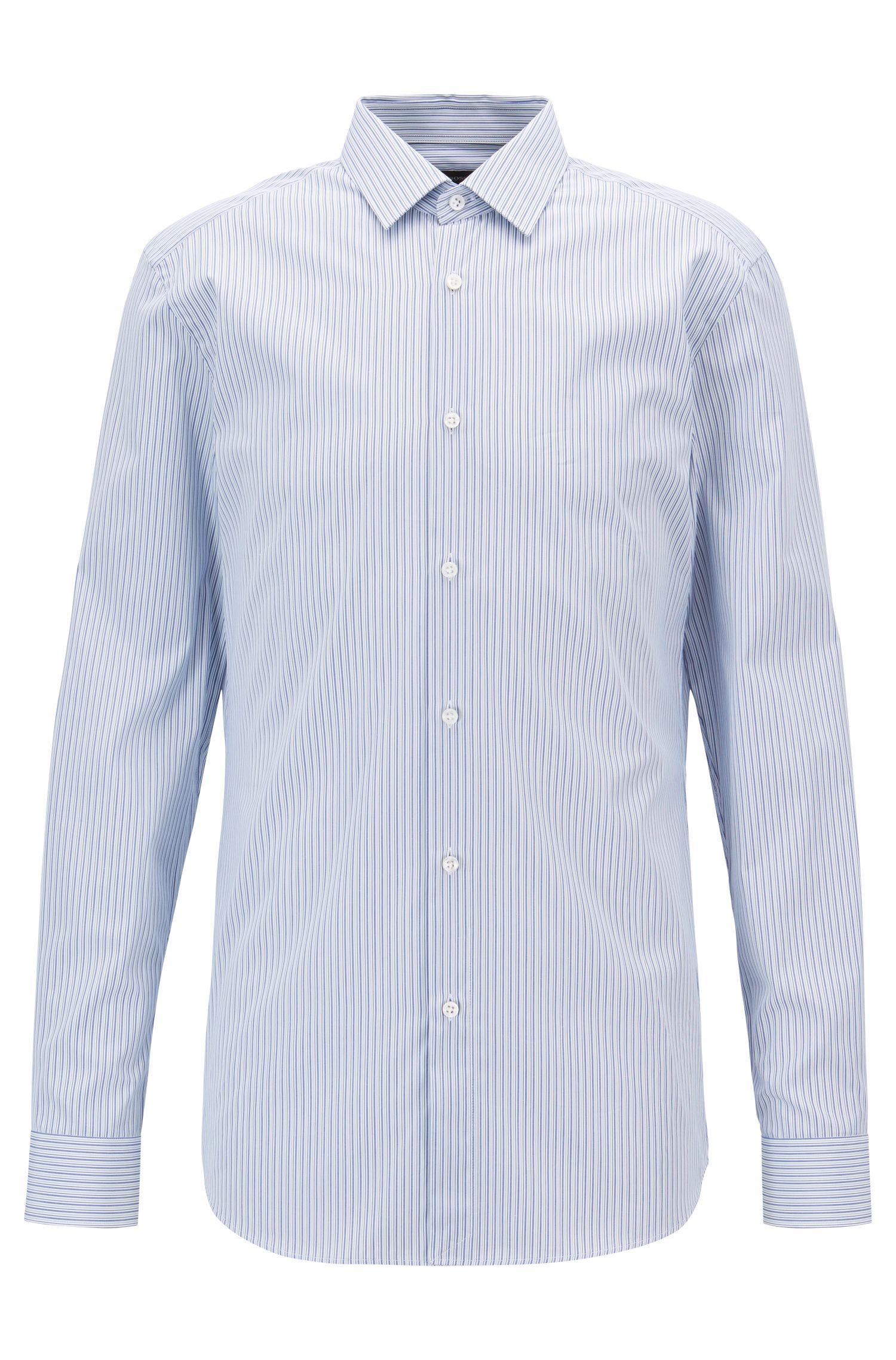 Slim-fit shirt in striped cotton poplin, Blue