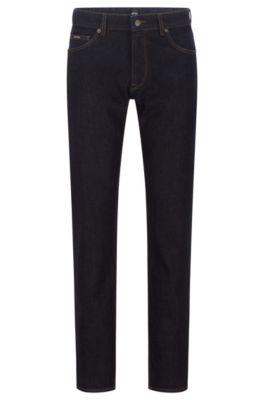 Regular-fit indigo jeans in Italian stretch denim, Dark Blue