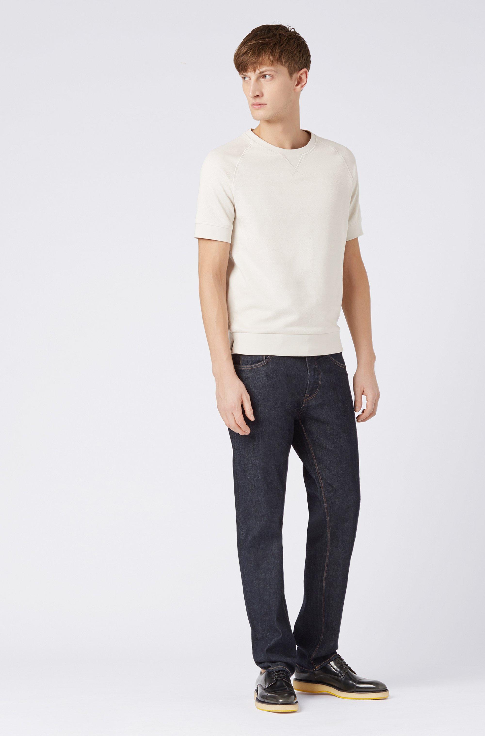 Regular-fit indigo jeans in Italian stretch denim