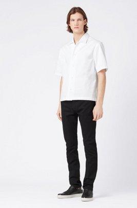 Slim-fit black jeans in Italian stretch denim, Black