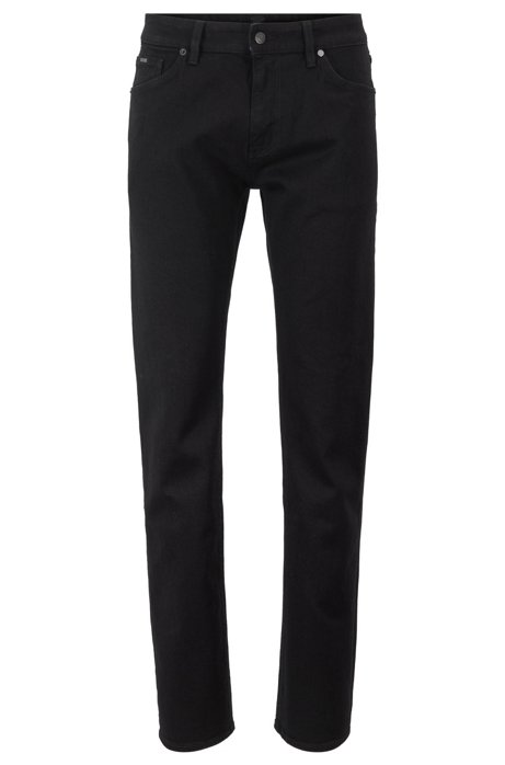 Regular-fit jeans in deep-black Italian stretch denim, Black