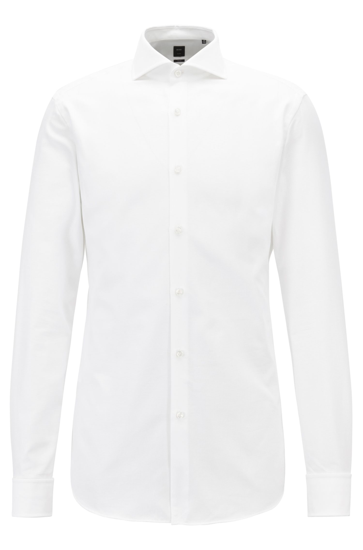 Slim-fit shirt in Italian micro-structured cotton, White