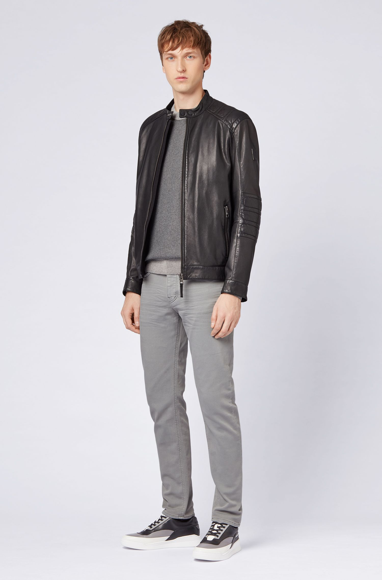 Tapered-fit jeans in knitted stretch denim, Light Grey