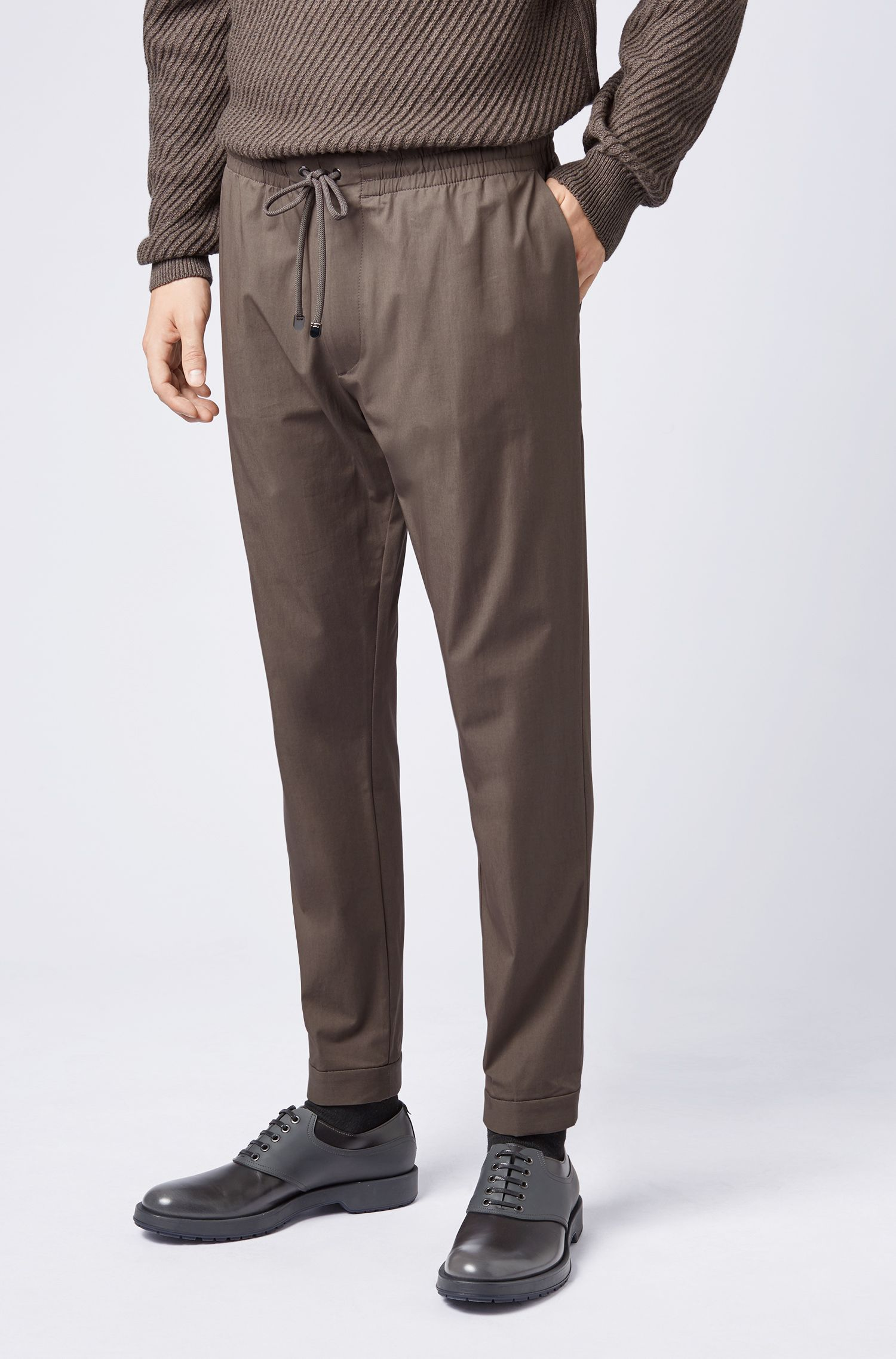 Relaxed-fit chinos in lightweight Italian stretch cotton, Open Grey