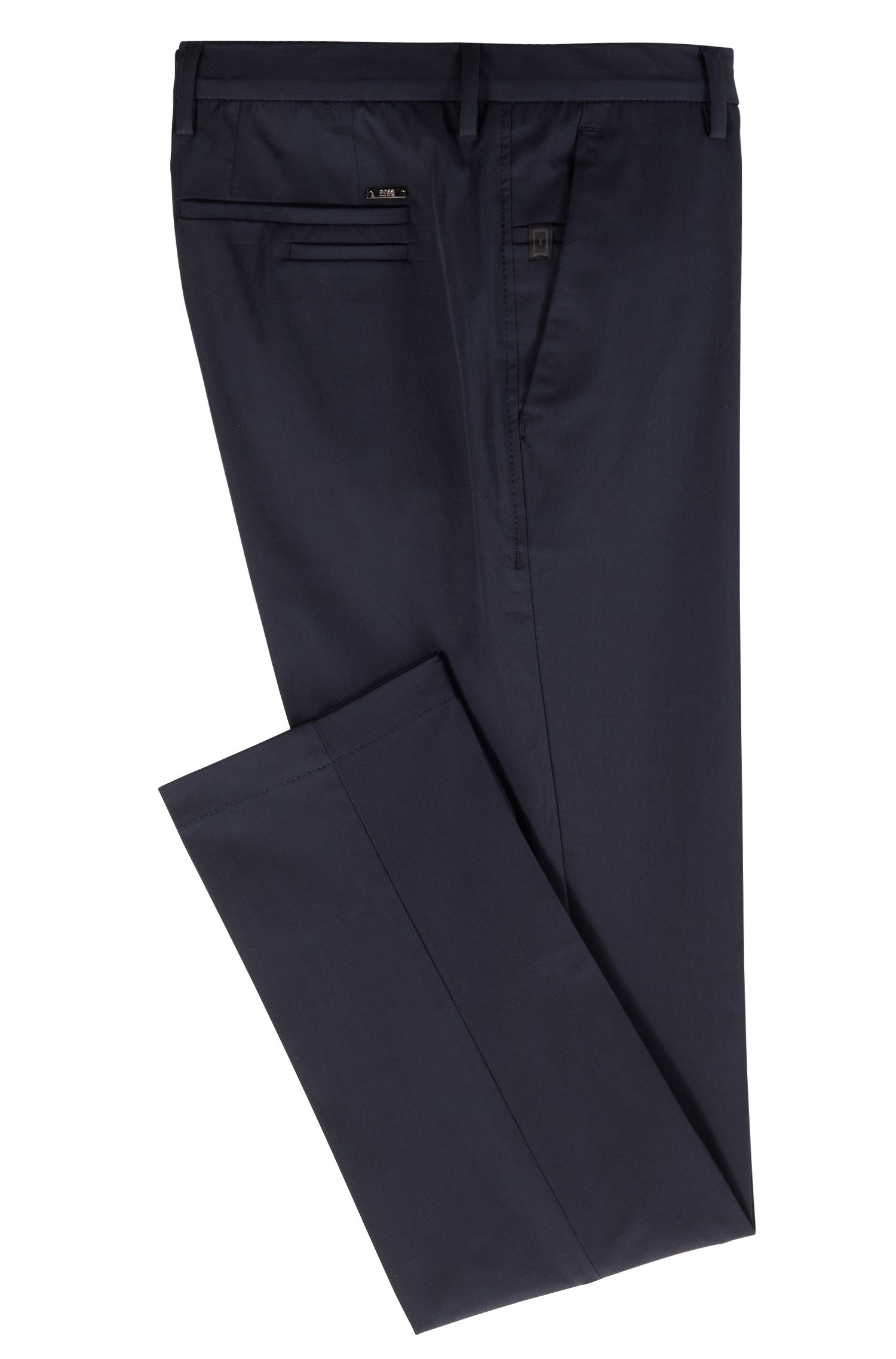Slim-fit chinos in Italian four-way-stretch cotton, Open Blue