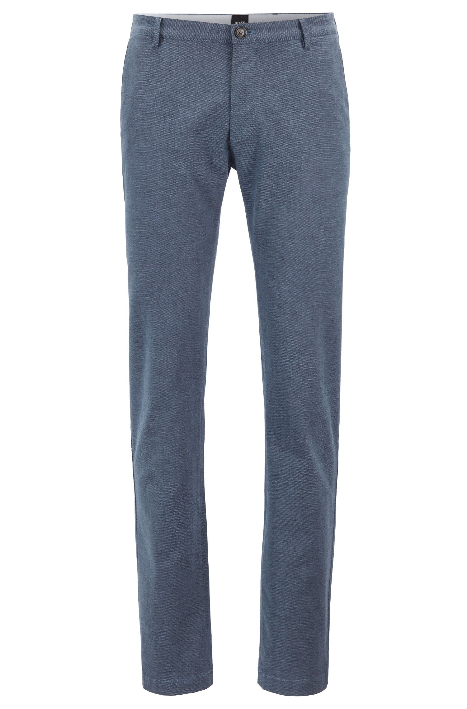 Slim-fit chinos in micro-patterned stretch cotton, Open Blue