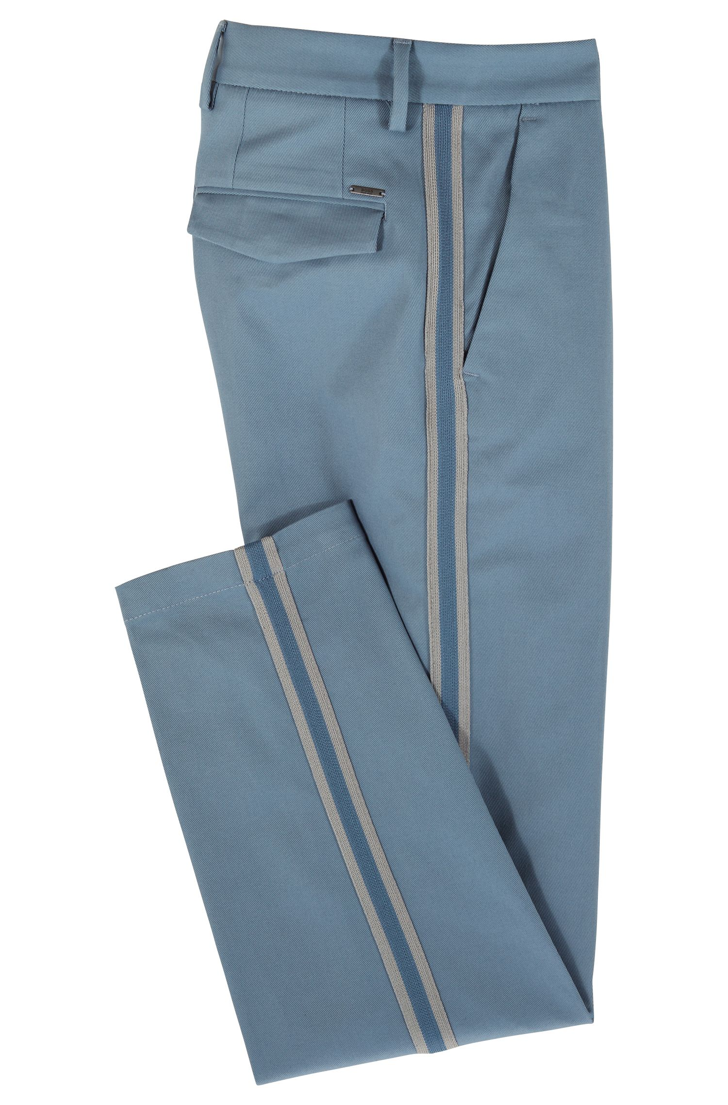 Relaxed-fit chinos in Italian stretch gabardine, Open Blue