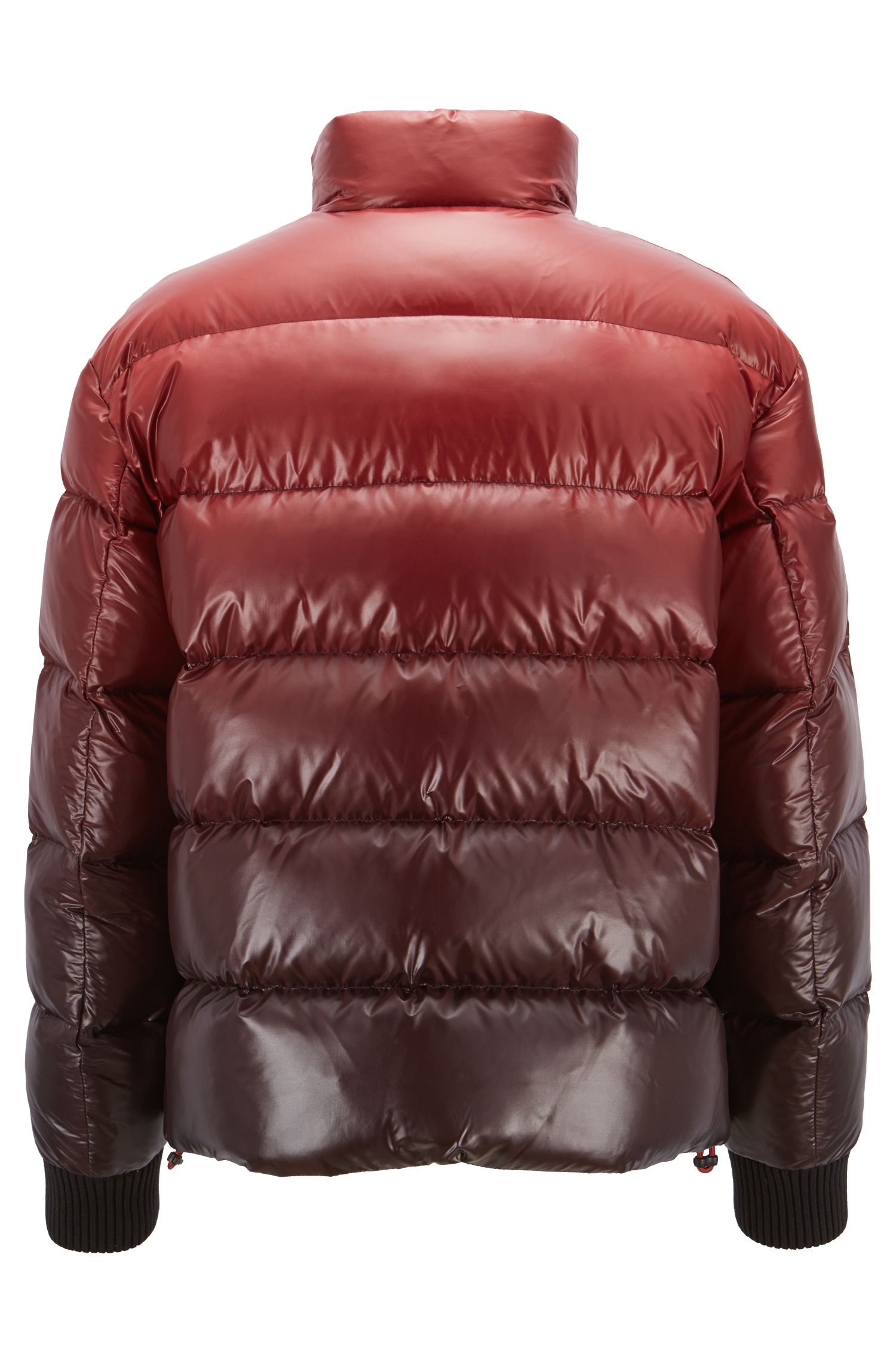 Oversized-fit down jacket in ombré-effect water-repellent fabric, Dark Red
