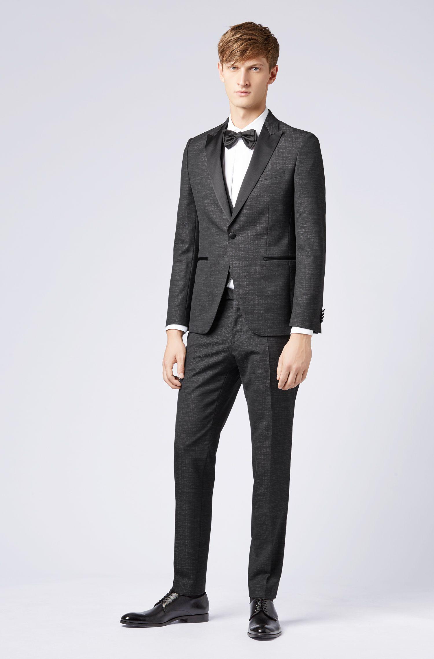 Extra-slim-fit three-piece tuxedo with silk detailing, Black