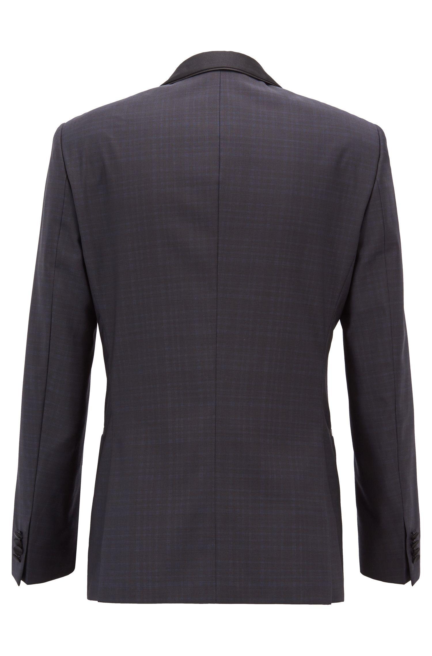 Slim-fit tuxedo in checked virgin wool and silk, Dark Blue