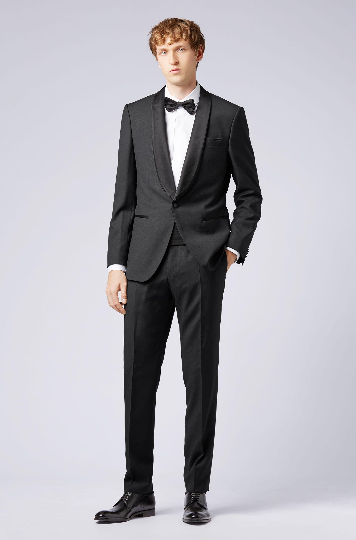 Slim-fit tuxedo in virgin wool with silk collar, Black