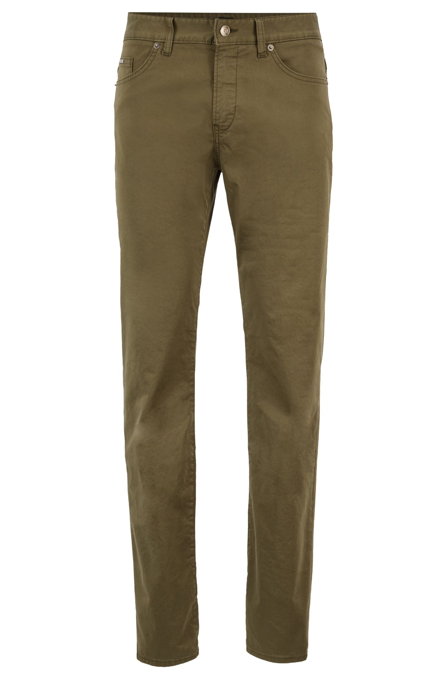 Slim-fit jeans in garment-dyed stretch gabardine, Dark Green